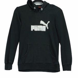 Puma small black logo hoodie